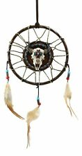 Native American Horned Bison Steer Cow Skull Dreamcatcher With Beaded Feathers