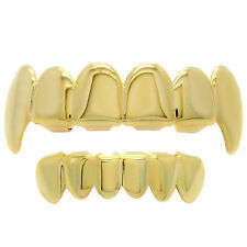 18K Gold Plated Hip Hop Teeth Grillz Fangs Top & Bottom Set Grills High Quality1