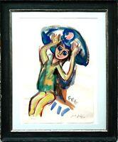 Friedrich Karl Gotsch 1900-1984: Mädchen Kissen Aquarell 73 x 43 cm Ausstellung