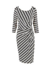 Scoop Neck Stretch, Bodycon Knee Length Striped Women's Dresses