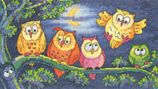 a Hoot of Owls 14 Count Aida Cross Stitch Kit by Heritage Crafts