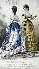GRAVURE MODE ANCIENNE 19e - LES MODES PARISIENNES TOILETTE MME PIEFFORT