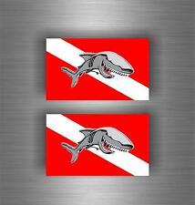 2x Sticker adesivi adesivo auto squalo shark scuba immersione tuffatore bandiera