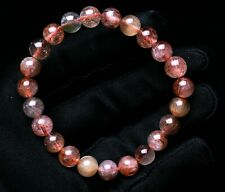Rutilated Quartz Crystal Beads Bracelet 8mm Natural Red Copper Hair