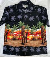 KY's Mens Hawaiian Aloha Shirt Tiki Palm Trees Size XL Black Vintage