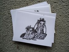 Yorkshire Terriers Yorkies Dog 18 Blank Notecards with Linen Style Envelopes New