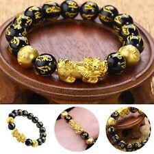 Feng Shui Black Obsidian Pixiu Bracelet Wealth Dragon Glass Good Luck Jewelry