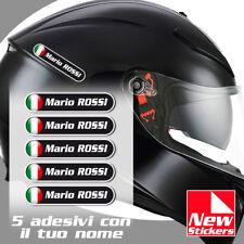 5 adesivi NOME e COGNOME personalizzato casco moto bike stickers ITALIA flag
