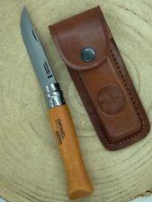 Couteau Opinel numéro 9 , lame acier carbone avec étui cuir marque Léopard