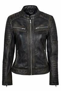 Women's Genuine Lambskin Leather Jacket Black Slim fit Biker Motorcycle Jacket