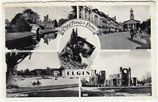GREETINGS FROM ELGIN - Scottie Dog / Scottish Terrier - 1960 used postcard