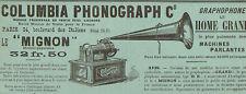 PARIS ITALIENS COLUMBIA PHONOGRAPH GRAMOPHONE LE MIGNON PUBLICITE 1900