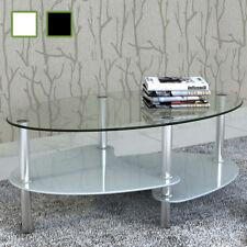 vidaXL Mesa de Centro Diseño Exclusivo 2 Niveles Vidrio Mesita Blanca/Negra
