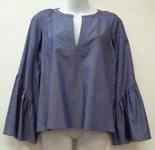 BCBG Maxazria XXS Blue Womens Shirt Top Blouse Flare Bell Sleeve Cutouts Denim