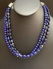 Native American Sterling Silver MultiStrand Lapis Necklace 18 Inch