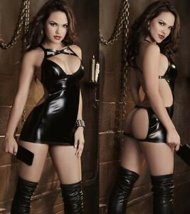 Womens Sexy Exotic Wet Look Faux Leather PVC Lingerie Catsuit Fancy Club Dress
