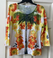 Knot Nautical Women's L Round Neck 3/4 Sleeve Colorful Palm Tree Shirt Top
