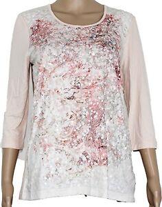 Gelco Damen Shirt ¾ Arm T-Shirt Oberteil rosa Pailletten Gr. 38 UVP 59,95