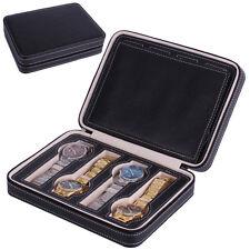 8 Grids Watch Storage Box PU Leather Top Display Jewelery Case Portable Zipper