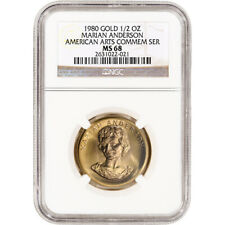 1980 Us Gold 1/2 oz American Commemorative Arts Medal Marian Anderson Ngc Ms68