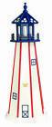 Amish Made Wood Garden Lighthouse - Patriotic Standard - Size & Lighting Options