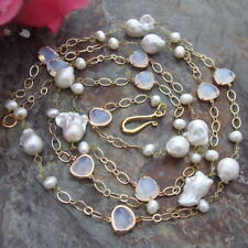 FC090411 60'' Keshi Pearl White Crystal Necklace