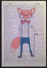 Hipster Fox Print Vintage Dictionary Page Wall Art Picture Animal In Clothes