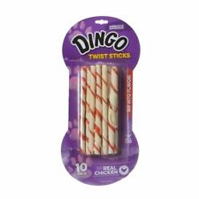 """LM Dingo Twist Sticks Rawhide Chew with Chicken in the Middle 6"""" Long (10 Pack)"""