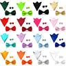 Men's Solid Color Pre-tie Bow Tie Handkerchief Pocket Square Cufflinks Set