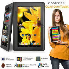 "7"" pulgadas 8GB Android Tablet Quad Core 4.4 doble cámara Bluetooth WIFI de la tableta UK"