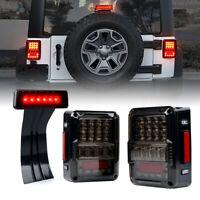 Xprite LED Tail Lights+3rd Brake Light w/ Smoked Lens for 07-18 Jeep Wrangler JK