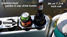 Diamond Plate 2 JUMBO Cup drink Holder Fits Pontoon boat Fence Rail 1 1/4 rail