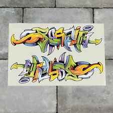 2 x Graffiti Word Vinyl Sticker Decal Car Van Bike - 207mm x 73mm - SKU6570