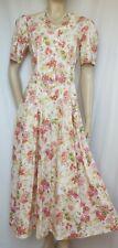 Laura Ashley Sommerkleid 38 Blumen Rosen creme rosa vintage Hochzeit Baumwolle