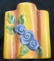 Triple Bud Vase Wall Pocket  Art Pottery Purple Flowers Vintage Ceramic