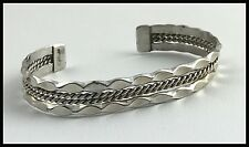 VINTAGE .925 Sterling Silver, Decorative Rope & Scallop Cuff Bracelet