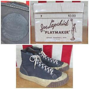 Vintage 1940s Joe Lapchick Basketball Sneakers Kinneys Gym Shoes w/Box Sz 7.5