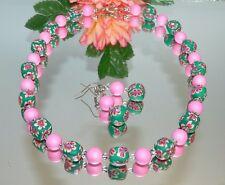 2er SCHMUCKSET KETTE OHRRING FIMOPERLE MULTICOLOR grün strass rosa 480e