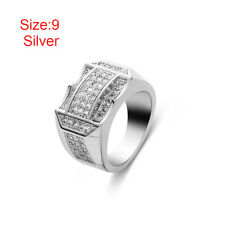 Women Hip Hop Jewelry Male Full Crystal Rhinestone Gold Silver Plated Ring Silver 9