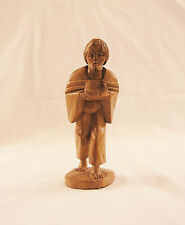 Vintage 1974 Dated Detailed Hand Carved Wooden Male Figure With Bowl~ARGENTINA