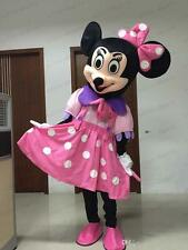 Halloween party pink Minnie Mouse Mascot Costume Disney Cartoon Dress Adult ship