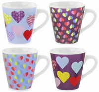 Set of 4 Porcelain Coffee & Tea Mugs 325ml Conical Shaped Bright Love Heart