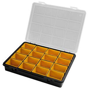 Sortimentskasten + 16 Einsätze Kleinteile Organizer Koffer Ordnung Sortier Box