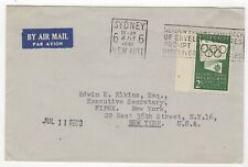 1956 Jul 4th. Air Mail. Sydney to New York. 2/- Green Olympic Publicity.