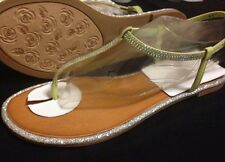 SHOE DAZZLE LIME GREEN WITH CRYSTALS COLOR SANDALS SIZE 5.5 US