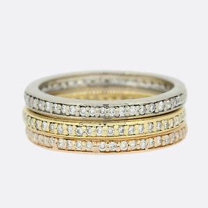 Diamond Eternity Ring - Tri Colour Diamond Stacking Rings 18ct Gold