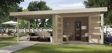 Weka Gartenhaus Design 126 B Gr.3 naturbelassen Doppeltür und Anbau 590x300 cm