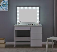 Hollywood Mirror & Tavolino Da Toeletta Vanità Set luci LED bianco lampadina comò USB