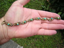 ANTIQUE AUSTRO HUNGARIAN ORNATE STERLING SILVER TURQUOISE + SEED PEARL BRACELET