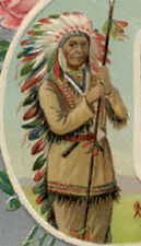 NATIVE AMERICAN INDIAN EMBOSSED OLD POSTCARD  **** NOW ON SALE **** PC5549